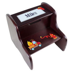 Personalized Fire Truck Espresso Two Step Stool