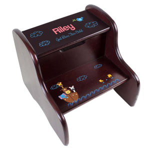 Personalized Noah's Ark Espresso Two Step Stool