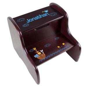 Personalized Noahs Ark Espresso Two Step Stool