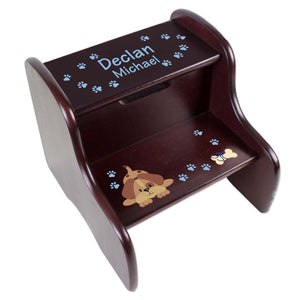 Personalized Blue Puppy Espresso Two Step Stool