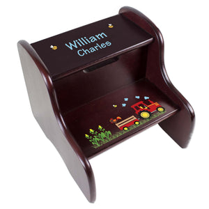 Personalized Red Tractor Espresso Two Step Stool