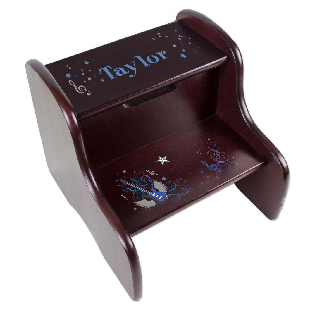 Personalized Blue Rock Star Espresso Two Step Stool