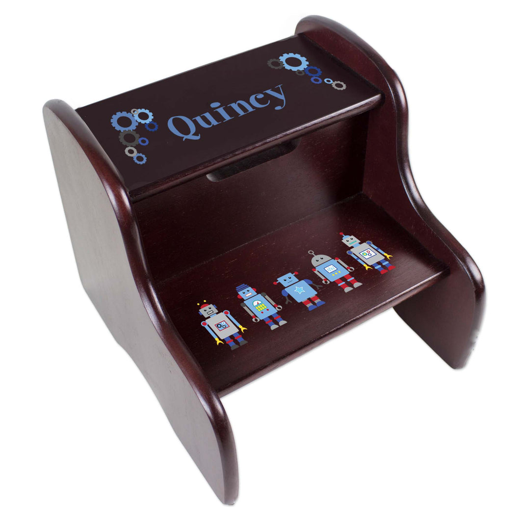 Personalized Espresso 2 Step Stool With Robot Design