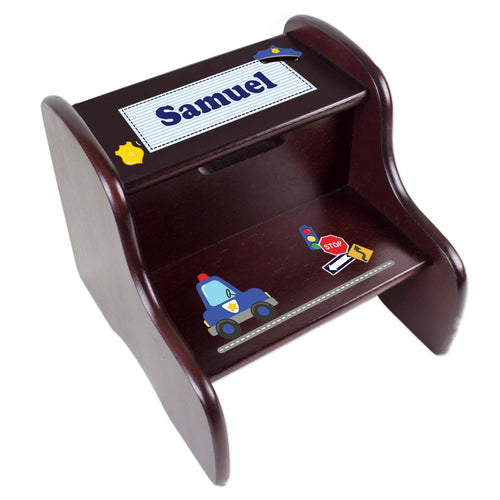 Personalized Police Espresso Two Step Stool