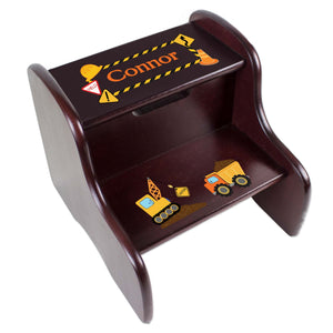 Personalized Construction Espresso Two Step Stool