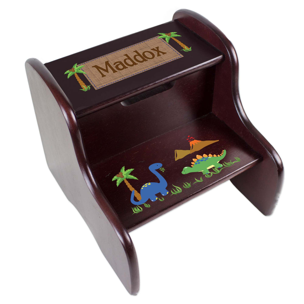 Personalized Dinosaurs Espresso Two Step Stool