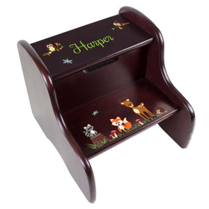 Personalized Espresso 2 Step Stool With Green Forest Animal Design