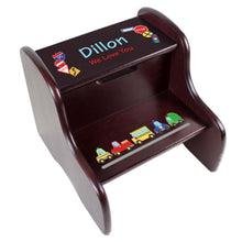 Personalized Cars and Trucks Espresso Two Step Stool