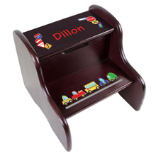 Personalized Espresso 2 Step Stool With Cars And Trucks Design