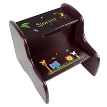 Personalized Jungle Animals Boy Espresso Two Step Stool