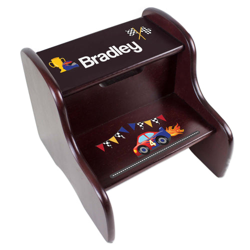 Personalized Race Cars Espresso Two Step Stool