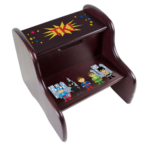 Personalized Boys Super Hero Espresso Two Step Stool