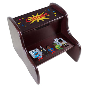 Personalized Espresso Two Step Stool With African American Super Hero Design