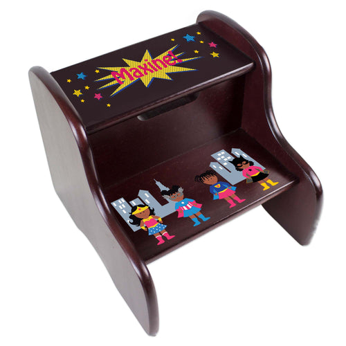 Personalized Espresso 2 Step Stool With Super Hero Girl African American Design