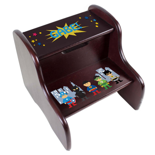 Personalized Superhero Asian Espresso Two Step Stool