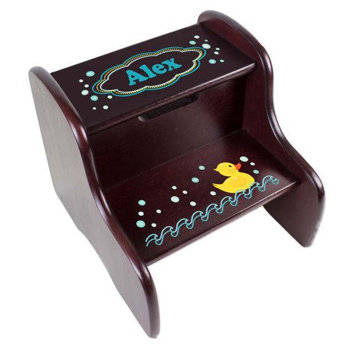 Personalized Rubber Ducky Espresso Two Step Stool