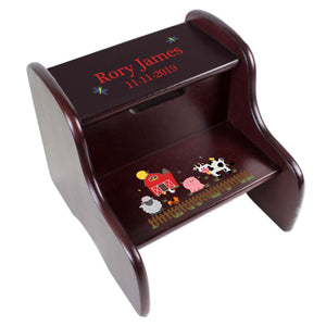 Personalized Barnyard Espresso Two Step Stool