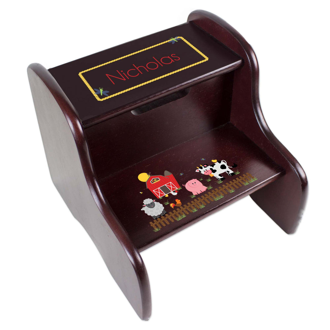 Personalized Barnyard Friends Espresso Two Step Stool