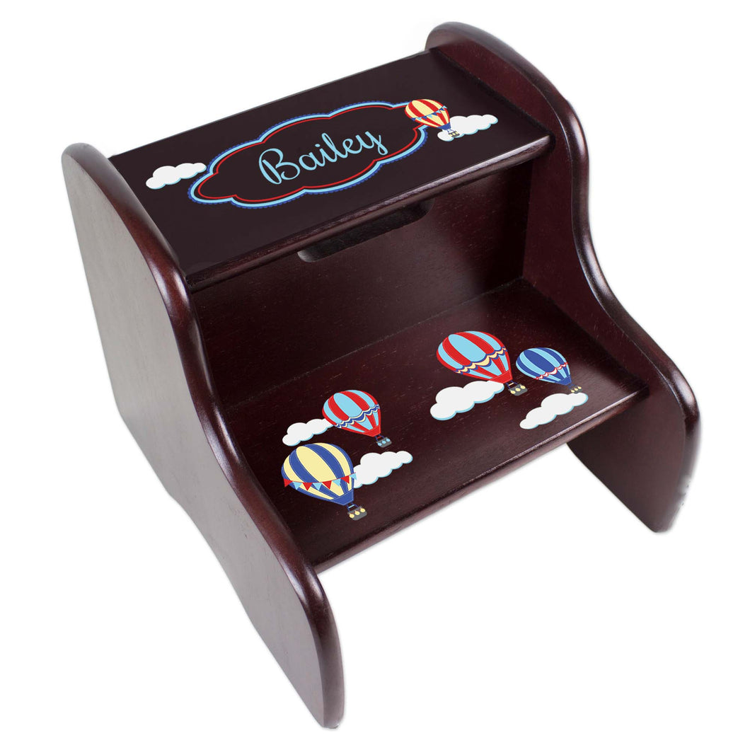 Personalized Hot Air Balloon Primary Espresso Two Step Stool