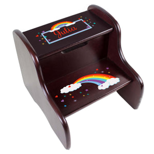 Personalized Rainbow Espresso Two Step Stool