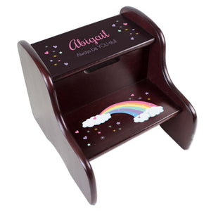 Personalized Pastel Rainbow Espresso Two Step Stool