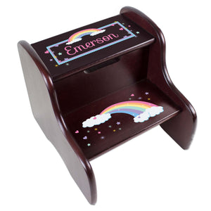 Personalized Espresso Two Step Stool With Pastel Rainbow Design