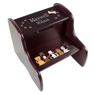 Personalized All Dogs Espresso Two Step Stool