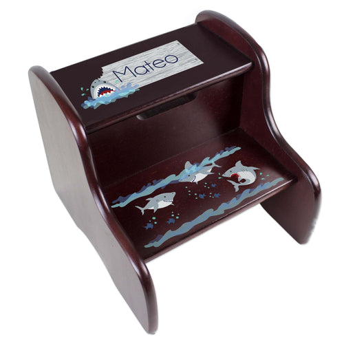Personalized Shark Tank Espresso Two Step Stool