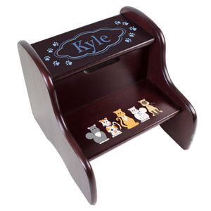 Personalized Blue Cats Espresso Two Step Stool