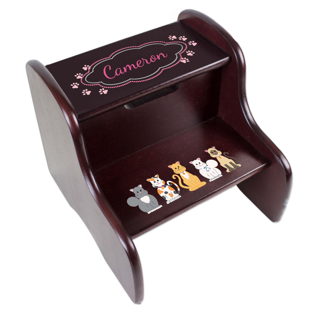 Personalized Pink Cats Espresso Two Step Stool