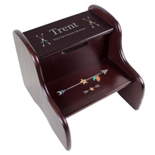 Personalized Tribal Arrow Boy Espresso Two Step Stool