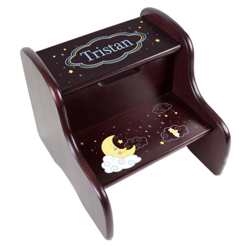 Personalized Espresso Two Step Stool With Moon And Stars Design