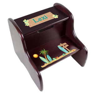 Personalized Espresso 2 Step Stool With Surf'S Up Design
