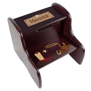 Personalized Espresso 2 Step Stool With Wild West Design