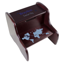 Personalized Blue World Map Espresso Two Step Stool
