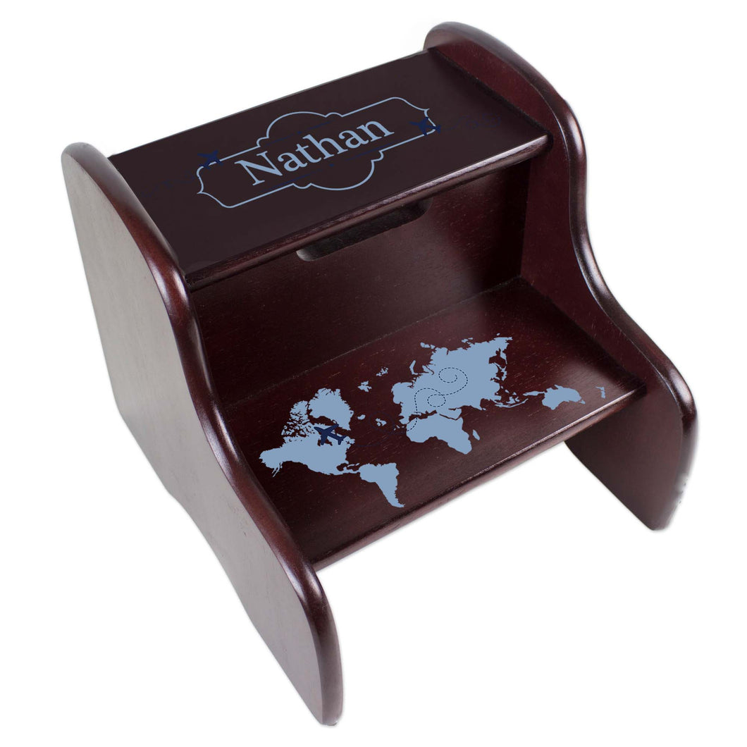 Personalized World Map Blue Espresso Two Step Stool
