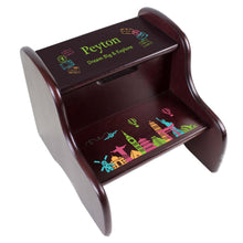 Personalized World Travel Espresso Two Step Stool