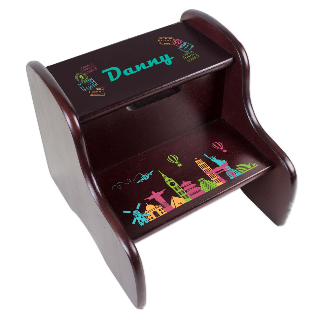 Personalized World Travel Pink Espresso Two Step Stool
