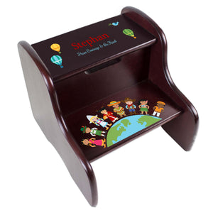 Personalized Small World Espresso Two Step Stool