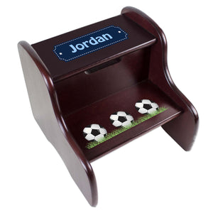 Personalized Soccer Balls Espresso Two Step Stool