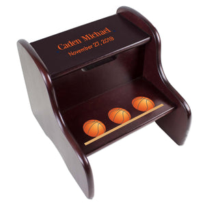 Personalized Basketball Espresso Two Step Stool