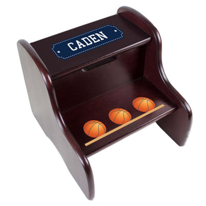 Personalized Basketballs Espresso Two Step Stool