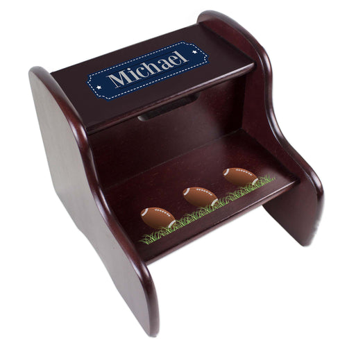 Personalized Footballs Espresso Two Step Stool