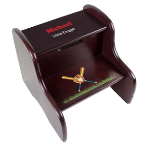 Personalized Baseball Espresso Two Step Stool