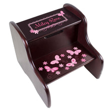 Personalized Espresso Two Step Stool With Pink Butterflies Design