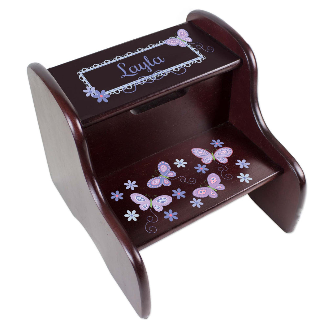 Personalized Espresso Two Step Stool With Lavender Butterflies Design