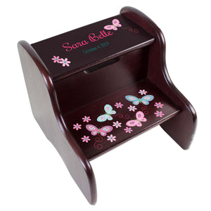 Personalized Aqua Pink Butterflies Espresso Two Step Stool