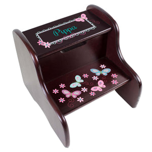 Personalized Espresso Two Step Stool With Aqua Butterflies Design