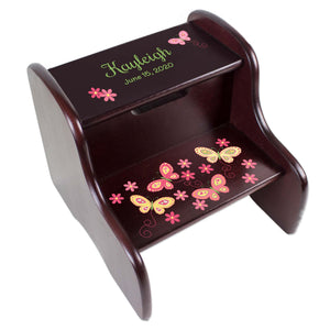 Personalized Yellow Pink Butterflies Espresso Two Step Stool