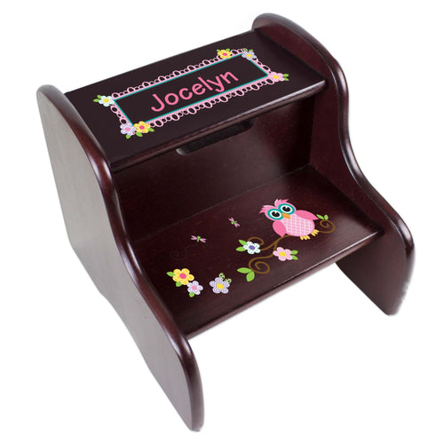 Personalized Espresso 2 Step Stool With Pink Owl Design